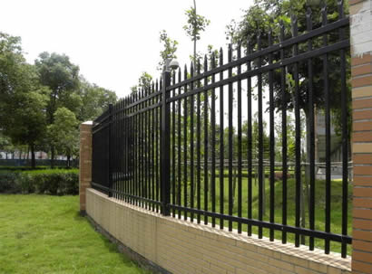 Black ornamental steel fence with pressed spear top