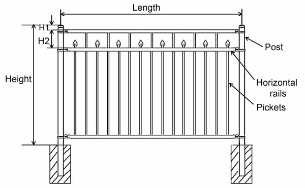 Ornamental fence FTOF-2 with pressed spear and flush bottom.