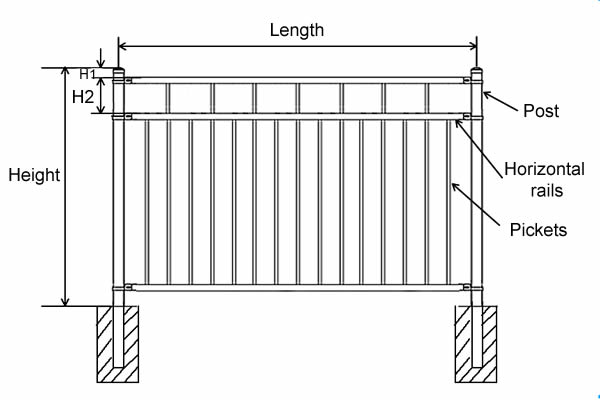 Ornamental fence FTOF-8 with ornamental top and flush bottom.