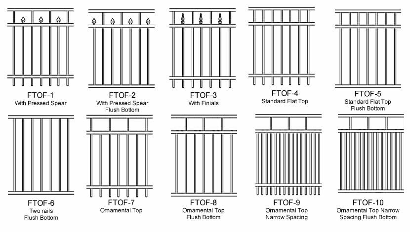 Plan drawing of ten types of flat top ornamental fence patterns.