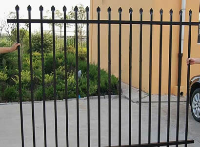 Black ornamental steel fence panels with pressed spear top